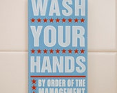 """Bathroom Decor Kid- Kids Room Art- Wash Your Hands By Order of the Management Word Art Block- 4"""" x 7"""" Kids Wall Art- Kid Bathroom Wall Art"""