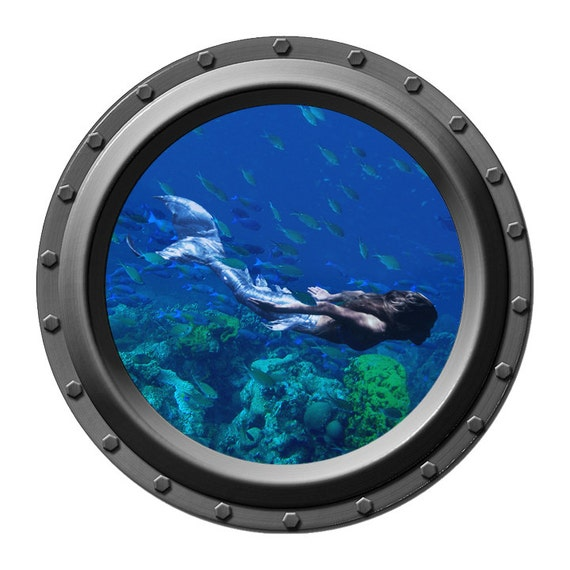 She Swims Mermaid Porthole Vinyl Wall Decal By Wilsongraphics