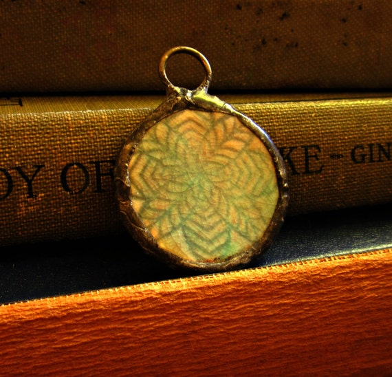 Teal Blue Herringbone Soldered Ceramic Pendant