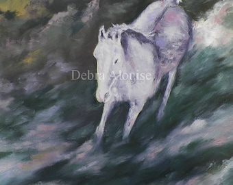 White Ride Lilacs Landscape Large Original Oil Painting 20 x 20 White Horse Running Abstract Landscape by debra alouise