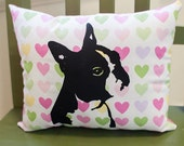 Boston Terrier Pillow, dog pillow, pet pillow, hearts pillow, pastel hearts fabric, valentine, screen print, dog art