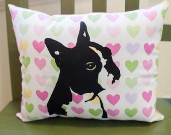 Boston Terrier Pillow, dog pillow, pet pillow, hearts pillow, pastel hearts fabric, valentine, screen print, dog art