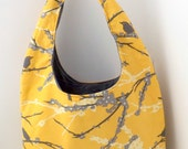Hobo Bag, Slouch Bag, Large Shoulder Bag - Mustard Sparrows - Ready to Ship