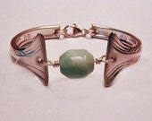 Spoon Bowl Bracelet New Style Recycled Silverware Amazonite Focal Bead Size 7 Ready to Ship