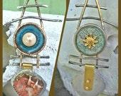 Ladders - Enamel Copper Agate Pearl Pendant