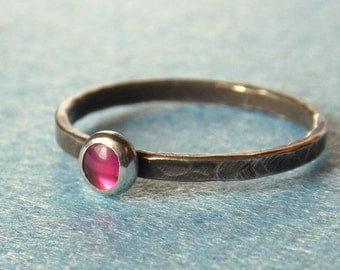 Tiny Ruby Ring - Textured and Blackened - Sterling and Fine Silver - Bright Pink (lab created) Ruby Gemstone - Dainty Stacking Ring