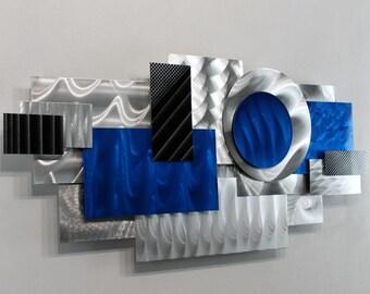 Silver Blue & Black 3D Modern Art - Geometric Abstract Wall Sculpture - Handmade Wall Decor - Unique Shape Accent -Blue Impulse by Jon Allen