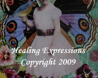 ASPIRE TO BE altered art therapy inspirational wings butterfly girl recovery collage AtC AcEO Print