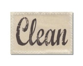 Dishwasher Clean Dirty Mini Flip Magnet Sign Natural Linen stamp Wife Gift