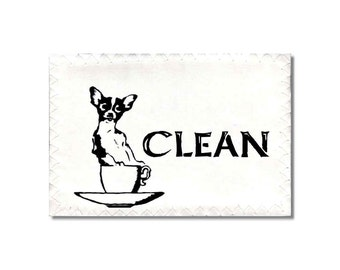 Cute Dogs Dishwasher Clean Dirty Mini Flip Magnet Sign teacup Chihuahua Wolfhound Wife Gift