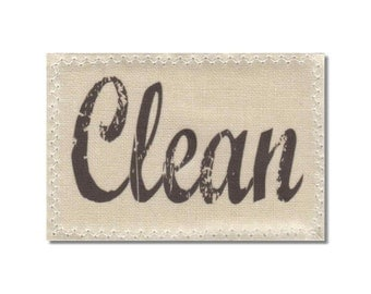 Dishwasher Clean Dirty Mini Flip Magnet Sign Natural Linen stamp NOW Stainless Steel Option Wife Gift