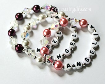 YOU CHOOSE the COLOR Pearl and crystal bracelet for little girls Personalized Name bracelet Princess Party Favor or Gift.