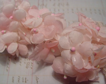 Vintage millinery pink hydrangea flowers old store stock
