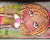 Sad Eyes Birthday Girl Folk Art Neon Colors Acrylic & Oil Pastels Original