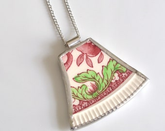 Recycled China Pendant on Chain - Red Dorchester