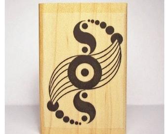 Crop Circle Rubber Stamp Yin Yang Music Sacred Geometry #1110