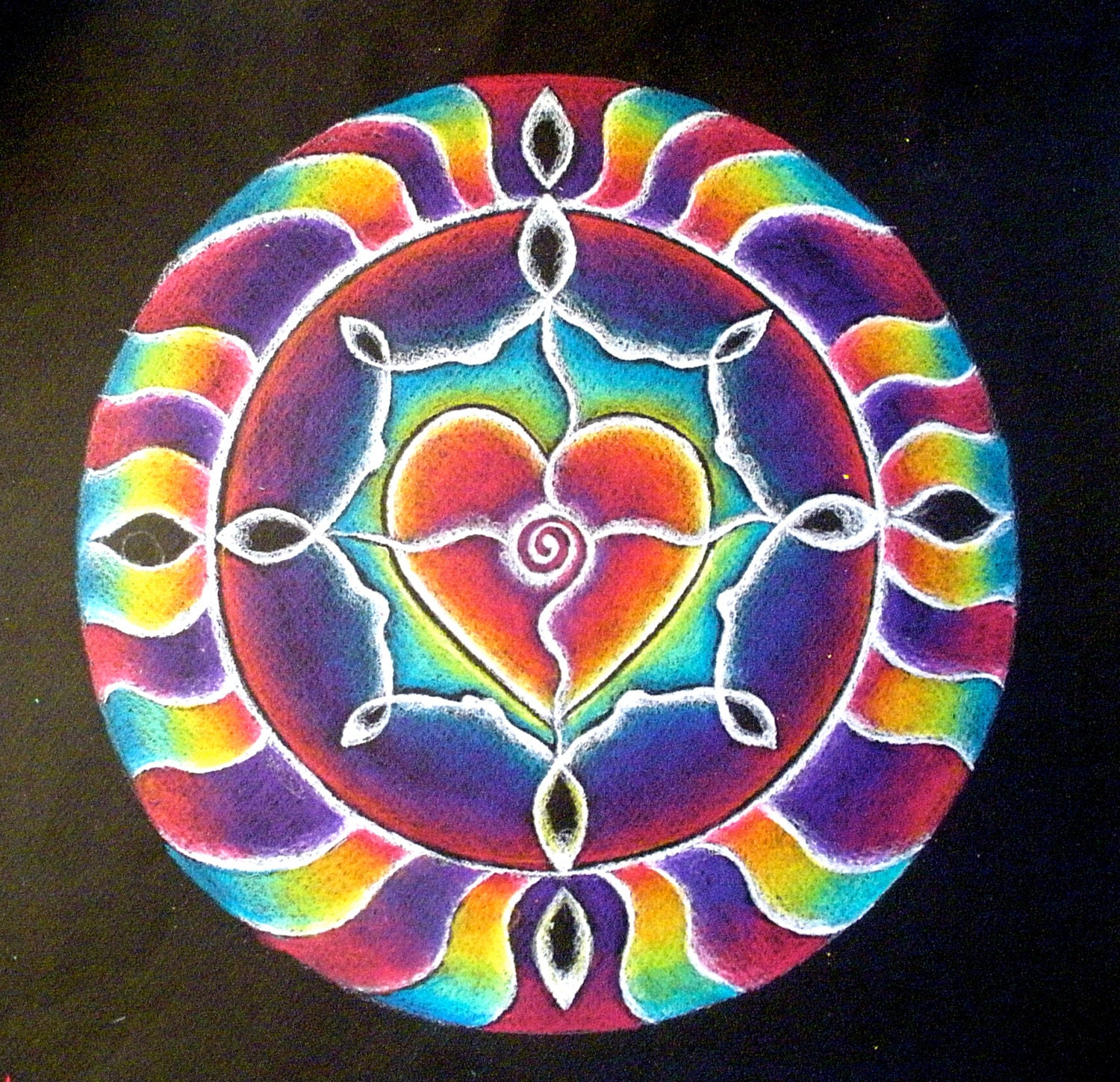 Rainbow Heart Mandala Drawing Matted Print heart energy