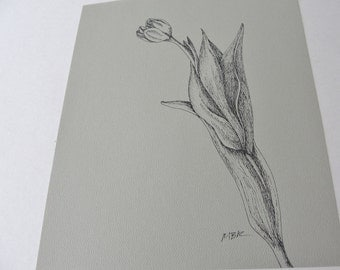 Original Ink Flower Drawing, Tulip Botanical Drawing, Spring Flower, Pen and Ink, Black on Olive Gray, Tulip Art, Flower Illustration 8 x 10