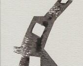 Unique Abstract Postcard Prints --'Series I' -- Lino Cut