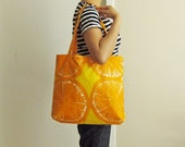 Orange Marimekko tote bag - laminated PVC-coated - oktak