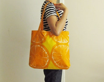 Orange Marimekko tote bag - laminated PVC-coated summer bold orange fruit Scandinavian beach bag market bag simple modern citrus yellow