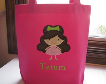 TOTE BAG Girly Girl Custom Designed and Personalized Big Kid Tote