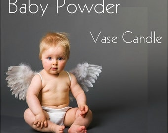 Baby Powder Vase Candle 2.8 oz Wax Melts - Highly Scented, Hand Poured Fresh, Premium Paraffin Soy Blend Wax Tarts, 25 Hour, Color Free