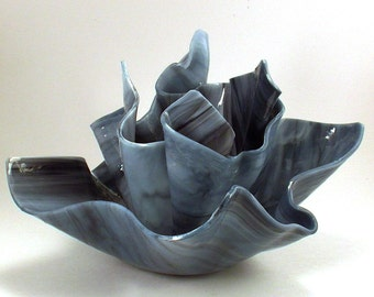 Vase Candle Set - Gray Thunderhead Vase and Dish with Free Spring Rain Soy, Paraffin Wax Blend, Paper Core, Self-trimming Wick Candle