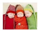 1 Unigender NeWBoRN Boy Girl Baby Hat PHOTO PROP Long Tail Stripe MuNCHKiN Stocking Cap PiCk CoLor Bright Pastel Neutral KNiT to ORDeR Toqu
