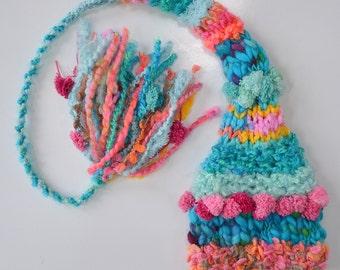 Newborn Baby Girl Knit Hat BaBY PHoTO PRoP Fashion Stocking Cap LoNG TAiL BeANiE Pink Aqua Coral SHeRBERT DeLiSH Tassel Toque DeSiGNeR YaRNS