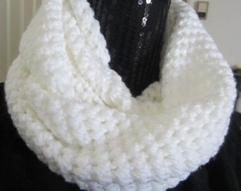 Crochet Neck Warmer Infinity Scarf White