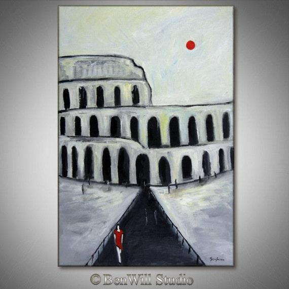 ORIGINAL Oil Painting Rome Italy - COLISEUM - Black White Red Art  - 36 x 24 - Modern Art by BenWill