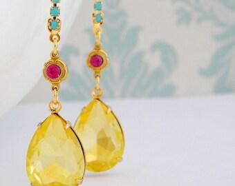 Swarovski Fuchsia Pink Turquoise  Jonquil Yellow Rhinestone Earrings