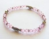 Pink Swarovski Crystal Breast Cancer Awareness Stretch Bracelet. Light Rose. Hope. Ribbon. Stackable. Stacking.