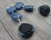 Ocean Blue Kyanite and Briolette Monochrome Fossil Wire Wrapped Earrings