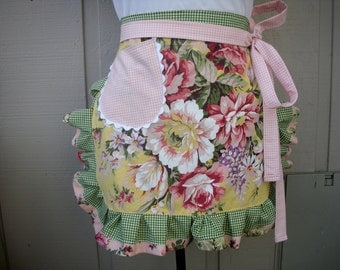 Aprons with Pink Roses - Handmade Aprons - Yellow Rose Apron - Shabby Chic Apron - Annies Attic Aprons - Handmade Aprons