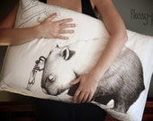 Wombat pillowcase with Girl, facing left. Illustrated pillowslip. Australian Gift with original art by flossy-p.