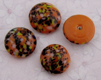 12 pcs. vintage glass orange confetti cabochons 12-13mm - f2736