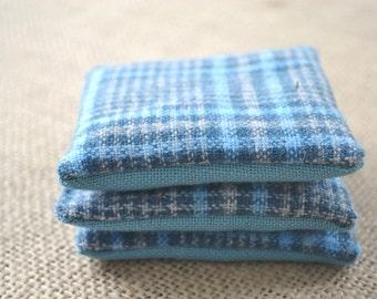 Balsam Sachets, Wool Sachets, Balsam, Sachets Set, Scented Sachets, Sachets, Blue Wool Sachets, Plaid Sachets, Blue Sachets