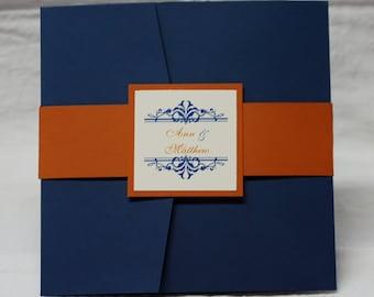 Navy and Orange Flourish, square pocketfold wedding invitation suite, sample set