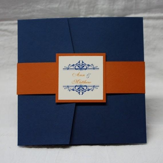 Navy And Orange Flourish Square Pocketfold Wedding Invitation