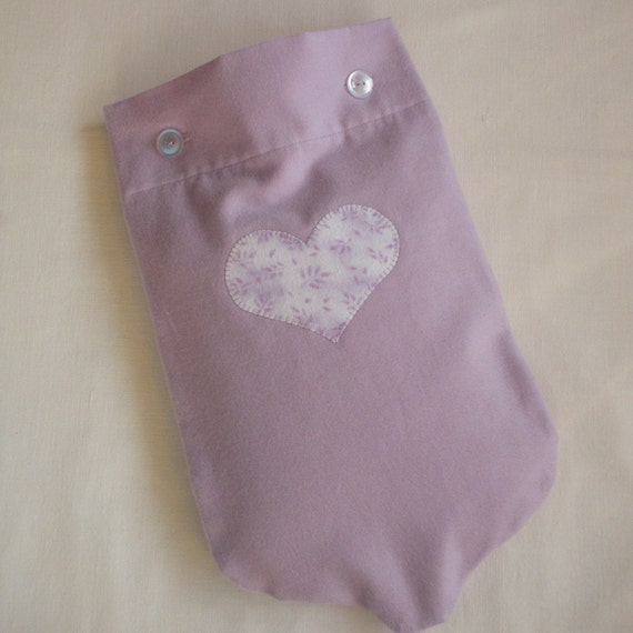 LAST ONE Lavender Flannel Hot Water Bottle Cover With Heart Applique or Plain