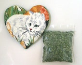 Catnip Heart Toy with Catnip Refillable White Cat