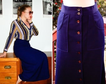 Blueberry 1970's Vintage Navy Blue Button Down Long Maxi Skirt size Small 4