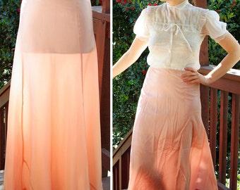 Petal PINK 1930's 40's Vintage Long Pink Rayon Taffeta Slip Skirt with Ruffles by Celanese size Small Medium