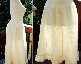 Victorian Girl 1800's 1900's Original Antique Long White Cotton Petticoat Skirt with Ruffled Edge size XS