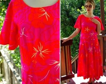 NEON Tropical 1960's 70's Vintage Bright Orange & Pink MAXI Dress Hawaiian Tropical size Medium