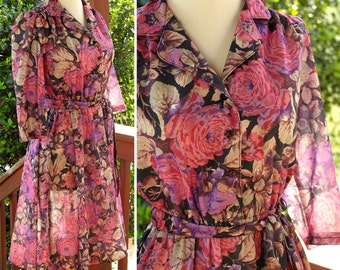 Summer GARDEN 1970's Vintage Pink and Purple Floral Day Dress by California LOOKS size Small