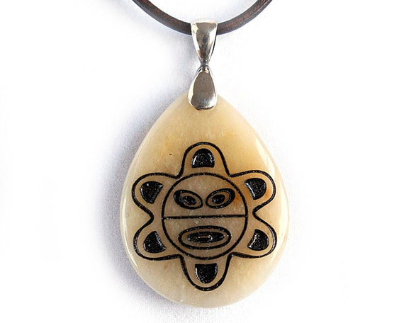 Taino Sol - Puerto Rican Sun Symbol - Engraved Stone Pendant