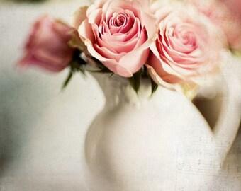 Pink Rose White Vase, Fine Art Photo, Modern Wall Decor,  Home Decor Office Decor Photos, Still Life, Floral Prints,